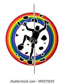 Man climbing on the wall designed on line rainbow background graphic vector.