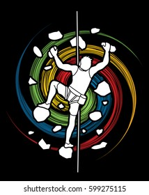 Man climbing on the wall designed on spin wheel background graphic vector.