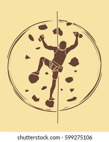 Man climbing on the wall graphic vector.