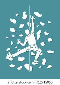Man climbing on the wall , Hiking indoor graphic vector.