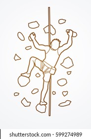 Man climbing on the wall outline graphic vector.