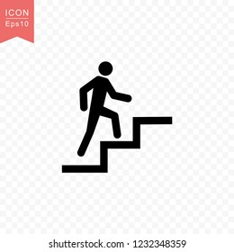 Man climbing stairs icon simple silhouette flat style vector illustration on transparent background.