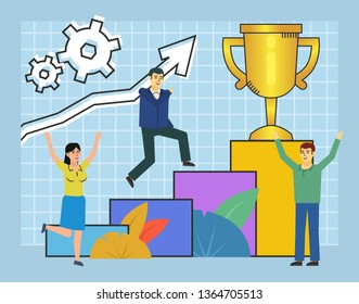 Man climbing up, running. Career growth, success ladder, steps, goal achievement. Poster for web page, banner, presentation, social media. Flat design vector illustration