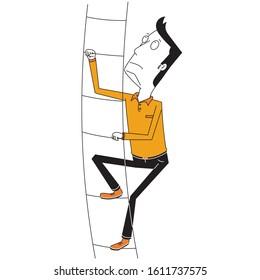 a man climbs high stair