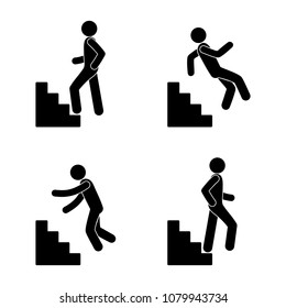 a man climbs the stairs, descends the steps, falls down, stick figure isolated pictogram, a set of icons a human silhouette, walking people