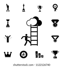a man climbs the stairs icon. Detailed set of Sucsess and awards icons. Premium quality graphic design sign. One of the collection icons for websites, web design, mobile app on white background