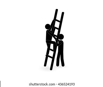 Man climbs up the stairs, and the other helps him. support symbol