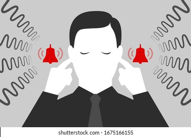 Man with closed eyes is plugging his ears with fingers when suffering from tinnitus. Red bells as symbol of unbearable ringing in ears. Concept of diseases of hearing organs or neurology problems