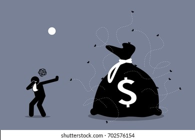 Man closing his nose and rejecting dirty and stinking money that is surrounded by flies. Artwork illustrations depict no to corruption, illegal business, and money laundering.