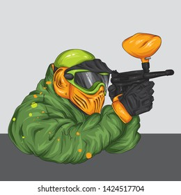 Man in clothes and accessories for paintball. Shooting, weapons and paint. Multicolored illustration.