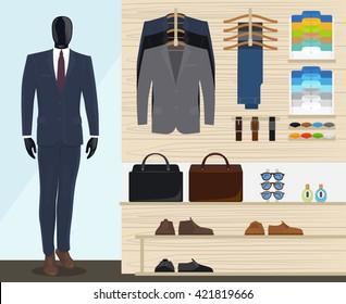 Man clothing store vector illustration. Mens clothes shop