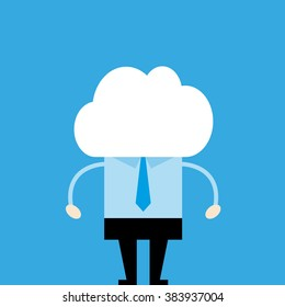 man with cloud instead of head on gray background