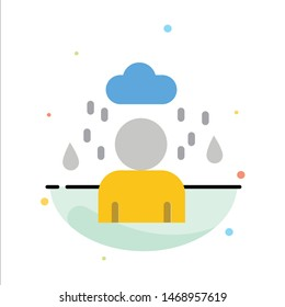 Man, Cloud, Rainy Abstract Flat Color Icon Template. Vector Icon Template background