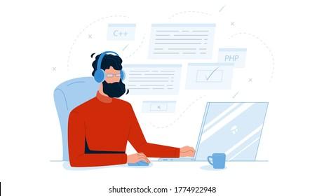 Man Coder Development Programming Computer Vector. Bearded Guy Coder Wearing Headphones Coding Application On Laptop, Software Engineer Sitting At Desk. Character Coding Flat Cartoon Illustration