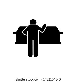 Man coffin funeral burial icon. Element of pictogram death illustration