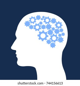Man with cogwheel inside his head. Rational and pragmatic person with reasonable and sensible intellect and logic. Brain as instrument and mechanism. Vector illustration.