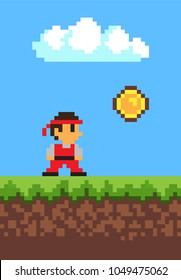 Man collecting coins, 2d game, pixel illustration, white cloud, vector image with ground and grass, blue sky, pixel man in red clothing, money icon