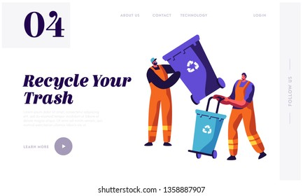 Man Collector Cleaning Trash from Rubbish Bin Container with Recycle Sign Landing Page. Garbage Removal. Clean Dustbin to reduce Littering Website or Web Page. Flat Cartoon Vector Illustration
