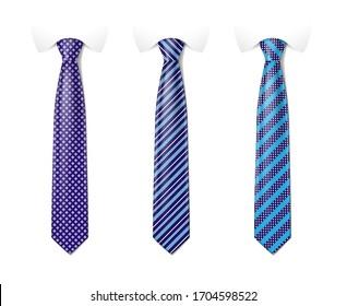 Mannfarbiger Kragensatz. Zieh dich mit einem anderen Modemuster an. Seidenraupen mit gestreifter Seidenverkleidung mit Textursatz. Vektorillustration