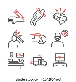 Man in a coma. Hospital bed. Infographic line icons. Vector