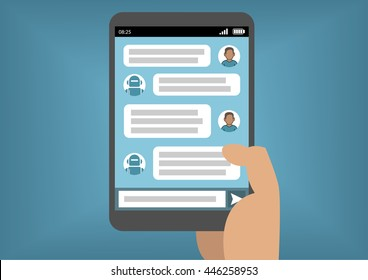 Man communicating with chat bot via instant messenger as an example of artificial intelligence