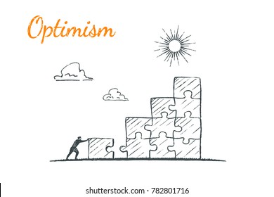 A man completes the ladder from puzzles to get the sun. Vector business concept illustration, hand drawn sketch. Optimist