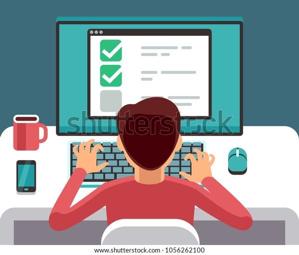 Man at computer filling online questionnaire form. Survey vector flat concept. Feedback and questionnaire online, survey and report illustration