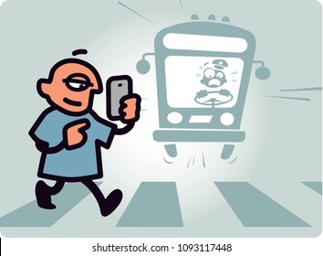 A man concentrating on cellphone steps into the street in front of an oncoming bus