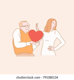 A man confessing a love and a woman rejecting a character hand drawn style vector doodle design illustrations.