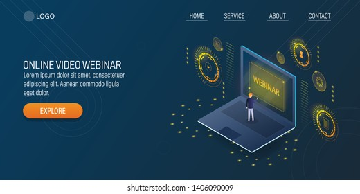 Man connected with webinar, Webcast, Virtual event, Online video conceptual vector 3D, isometric banner with icons and character