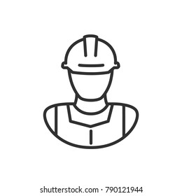 Man in a construction helmet. linear icon. Line with Editable stroke