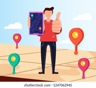 Man consumer character holding smartphone and tracking order. Delivery online shopping shipment concept. Vector flat cartoon design graphic isolated illustration