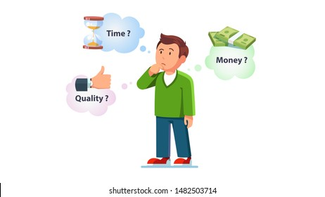 Man contemplating over conflicting interrelated values triangle. Time, cost or quality question concept. Guy question think on controversy of money, time and quality. Flat vector character illustration