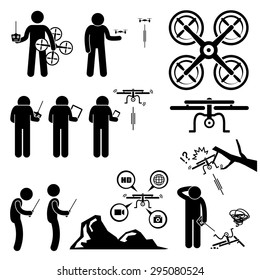 Man Controlling Flying Drone Quadcopter Stick Figure Pictogram Icons