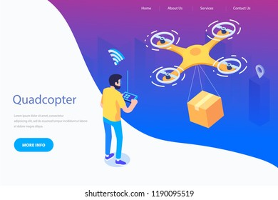 Man controlling quadcopter via VR headset. Drone delivery service concept. Modern flat design. 3d vector isometric illustration.