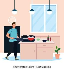 man cooking, in the kitchen scene vector illustration design