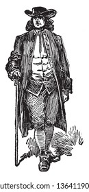 A man in costume of a Quaker, vintage line drawing or engraving illustration