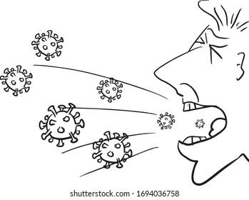 man coughing or sneezing coronavirus covid-19