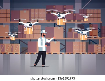 man courier hold wireless remote control parcel drones air delivery modern logistic system fast shipping concept cargo copter mail service warehouse interior horizontal