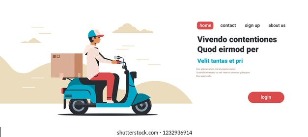man courier riding scooter with parcel cardboard box fast delivery concept isolated flat horizontal copy space vector illustration