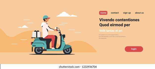 man courier riding scooter with pizza boxes fast food delivery service concept isolated flat horizontal copy space vector illustration