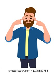 Man covering ears with fingers with annoyed expression for the noise of loud sound or music while eyes closed isolated standing in white background. Concept illustration in vector cartoon style.