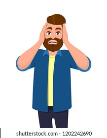 Man covering/closing his ears with hands and making a don't hear/listen gesture. Man does not want to hear or listen. Concept illustration in vector cartoon flat style.