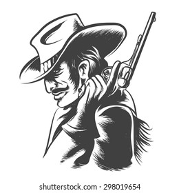 Man in cowboy hat, clothes with revolver in his hand. Engraving Style. Monochrome on white background.