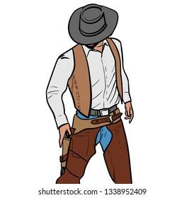 Man with cowboy hat and gun. Western Gunfighter. Digital sketch hand drawing vector. Illustration.