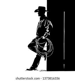 Man with cowboy hat and lasso. Digital sketch hand drawing vector. Illustration.