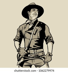Man with cowboy hat and shirt and scarf. Western. Portrait. Digital Sketch Hand Drawing Vector. Illustration.