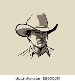 76f7defc19e Man with cowboy hat. Western. Portrait. Digital Sketch Hand Drawing Vector.  Illustration