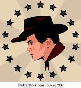 the man in the cowboy hat.vector illustration