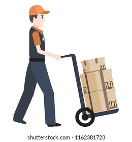 Man and crate on handcart icon, Delivery service illustration